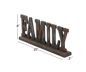 "20x8 Wood Tabletop ""Family"" Sign"
