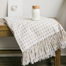 Load image into Gallery viewer, Cream Cotton Waffle Throw Fringe - Everyday Textiles