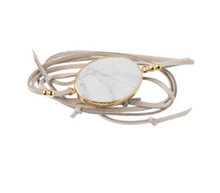 Load image into Gallery viewer, Suede/Stone Wrap - Howlite/Gold/Stone of Harmony