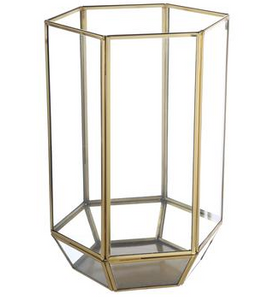 "12.2"" Brushed Gold Hurricane Lantern"