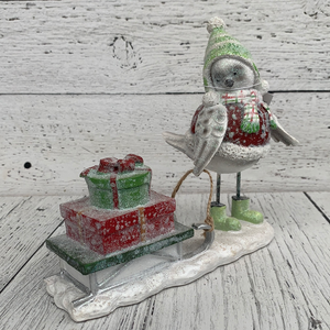 Snow Bird with Sled/Wagon - Holiday Tabletop