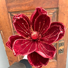 "Load image into Gallery viewer, 23""L Velvet Magnolia Stem - Holiday Pick"