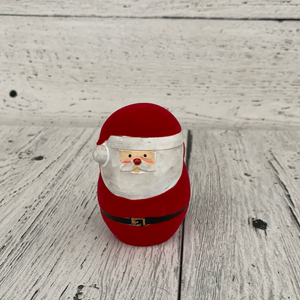"3"" Flocked Red Santa - Holiday Tabletop"