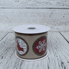 "Load image into Gallery viewer, 2.5"" x 10yards Nat Linen Woodsy Icons - Holiday Ribbon"