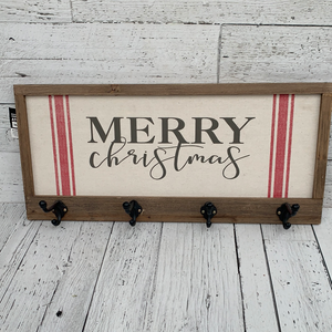 "24"" Merry Christmas Sign w Hooks - Holiday Decor"