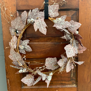 "24"" Iced Maple Leaf Wreath - Holiday Wreath"