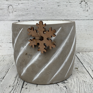 "6"" Planter Cement Pot Snowflake: Grey/White -Holiday Tabletop"