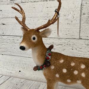 10x14 Standing Deer w Wreath - Holiday Tabletop