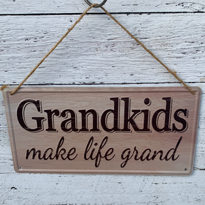 12x6 Tin Grandkids Life Grand Sign - Everyday Clearance