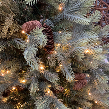 "Load image into Gallery viewer, 7'X52"" Spruce with Pinecones 1173 Tips, 600 LED mini lights - Christmas Tree"