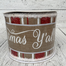 "Load image into Gallery viewer, 4""X10Yd 3 In 1 Merry Christmas ya'll - Holiday Ribbon"