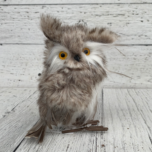 "5.5""H Fur Owl - Holiday Ornaments"