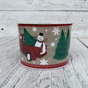 "2.5"" x 10yards Snowman Truck Ribbon - Holiday Ribbon"