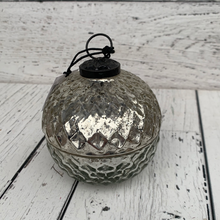 "Load image into Gallery viewer, 3.5"" silver mercury glass candle - Holiday Tabletop"