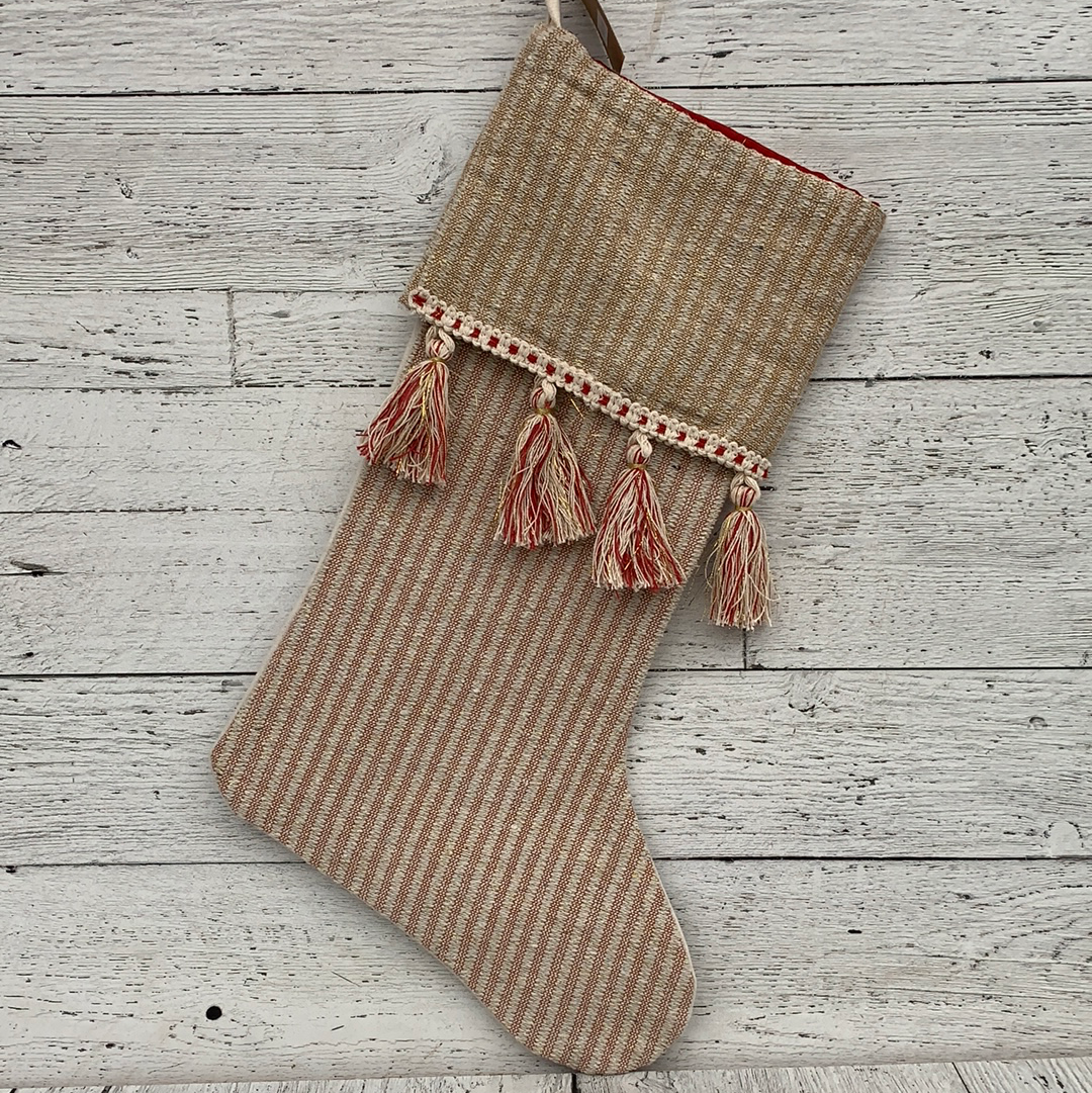 Stocking Stripes Tassels Red/Cream - Holiday Textiles