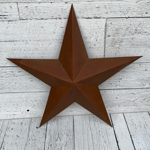 "18"" Rusty Tin 3D Star - Holiday Decor"