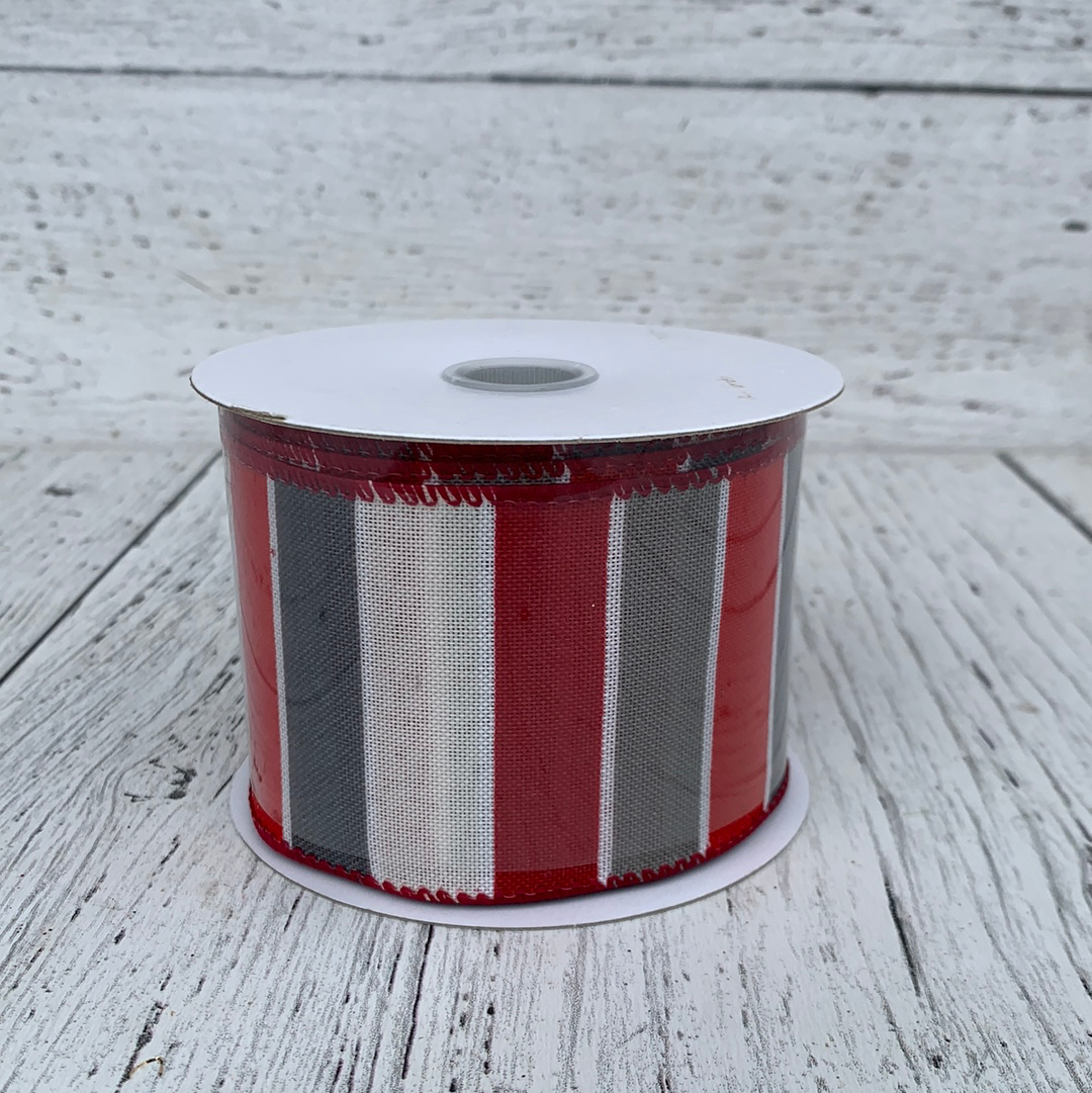 "2.5"" x 10yards Red/Wht/Gry Stripes  - Holiday Ribbon"