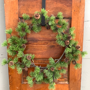 "24"" Pine Wreath w Cone - Holiday Wreath"