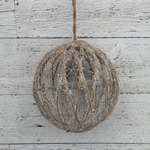 "8"" Glittered Jute Round - Holiday Ornament"