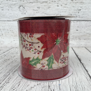 "4""x10YD Holly Branch Ribbon - Holiday Ribbon"