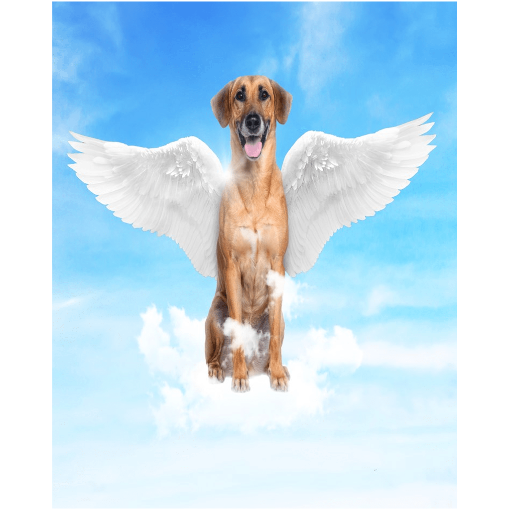 Angel Dog Portrait Custom Poster (Unframed) - My Pup Art