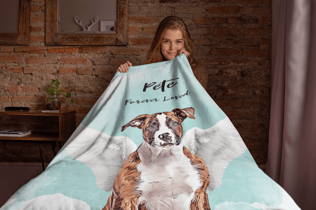 Angel Dog Watercolor Portrait Custom Blanket (U.S. Only) - My Pup Art