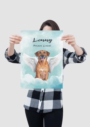 Angel Dog Watercolor Portrait Custom Poster (Unframed) - My Pup Art
