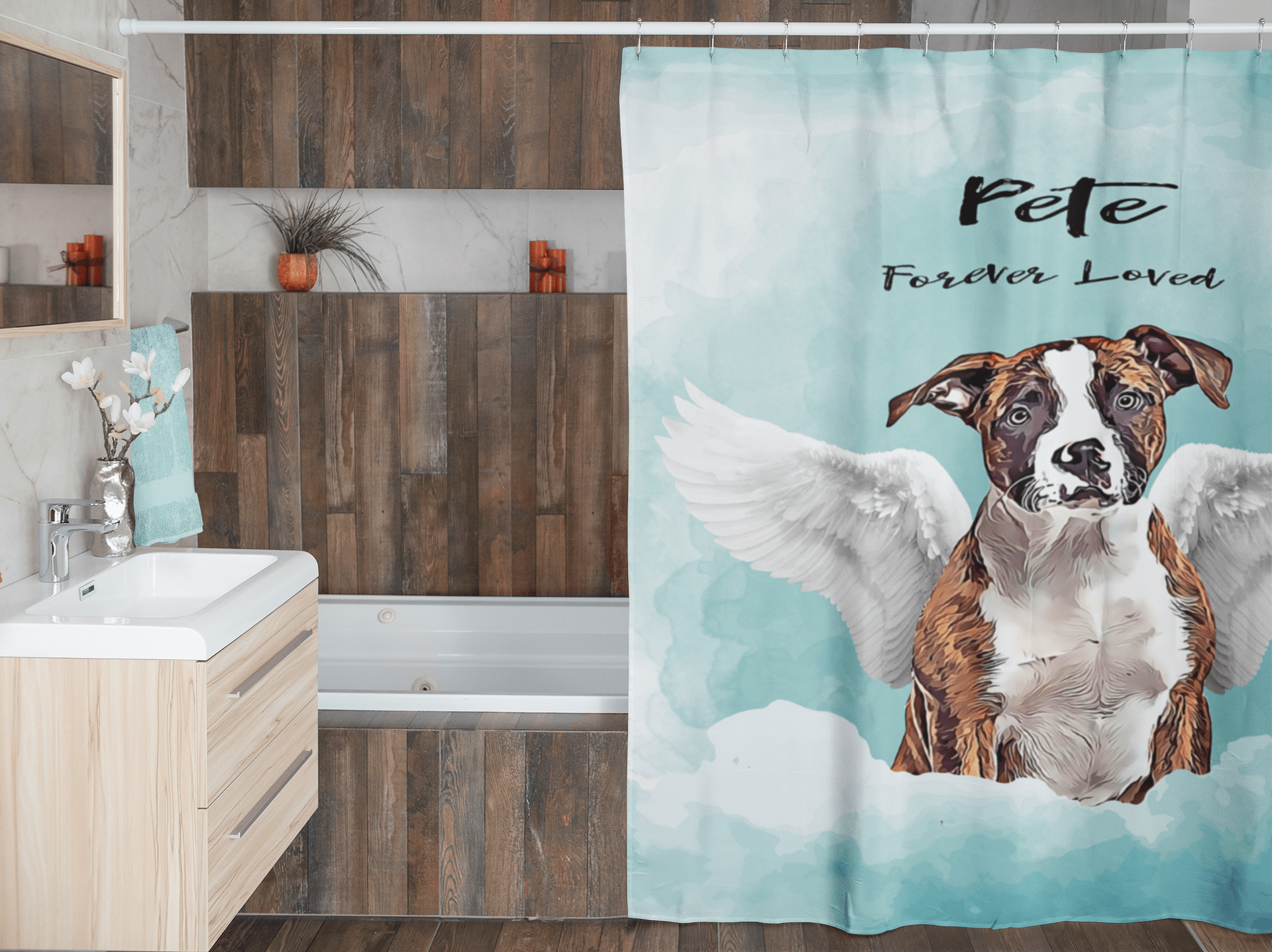 Angel Dog Watercolor Portrait Custom Shower Curtain (U.S. Only) - My Pup Art