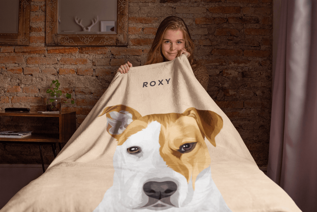 Illustrated Dog Portrait Custom Blanket  (U.S. Only) - My Pup Art
