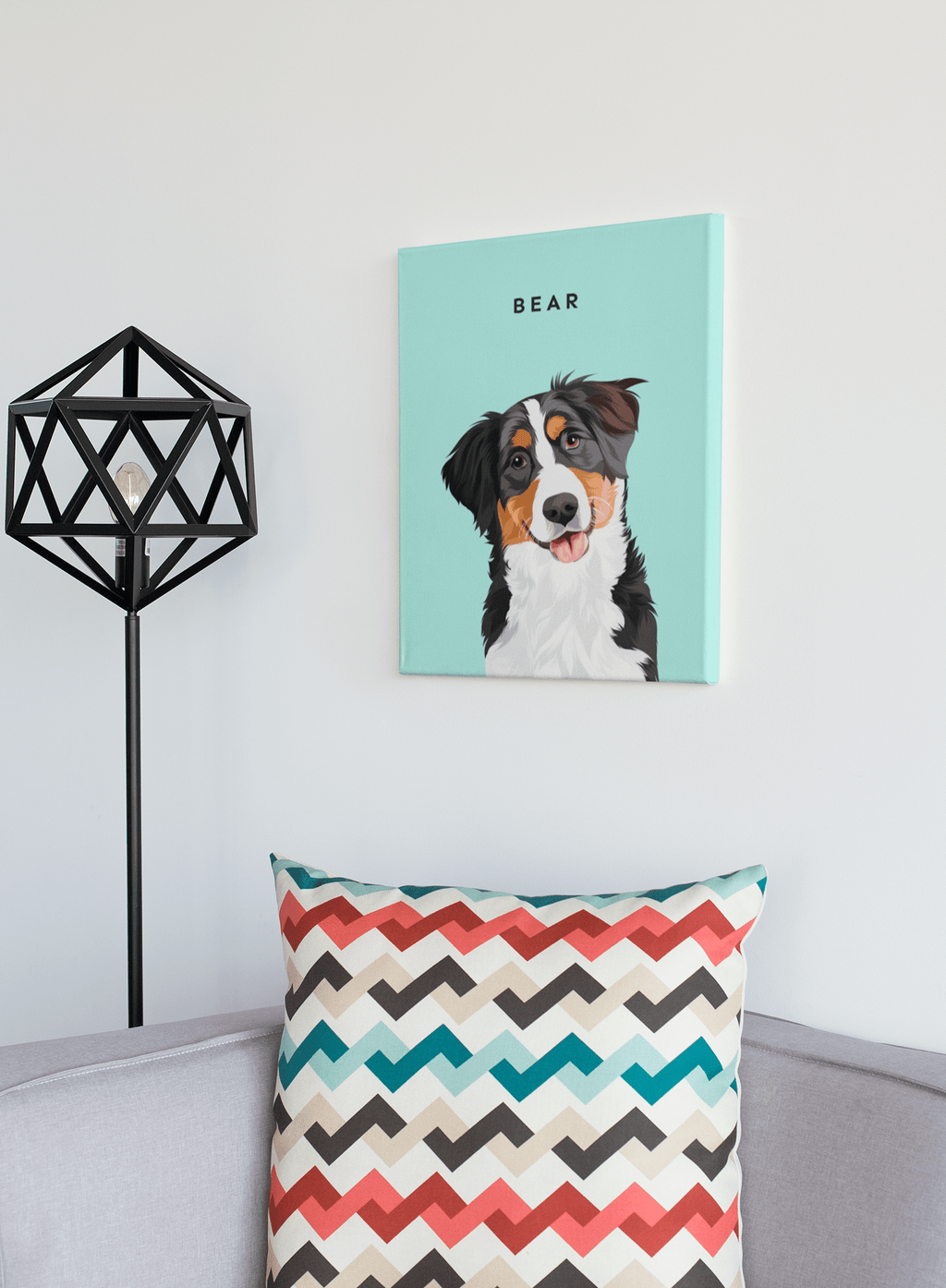 Illustrated Dog Portrait Custom Canvas - My Pup Art