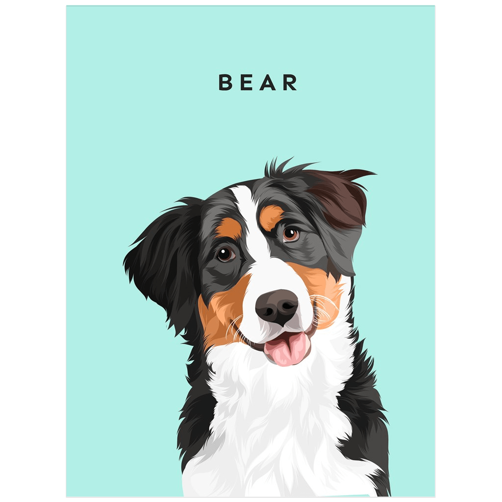 Illustrated Dog Portrait Custom Poster (Unframed) - My Pup Art