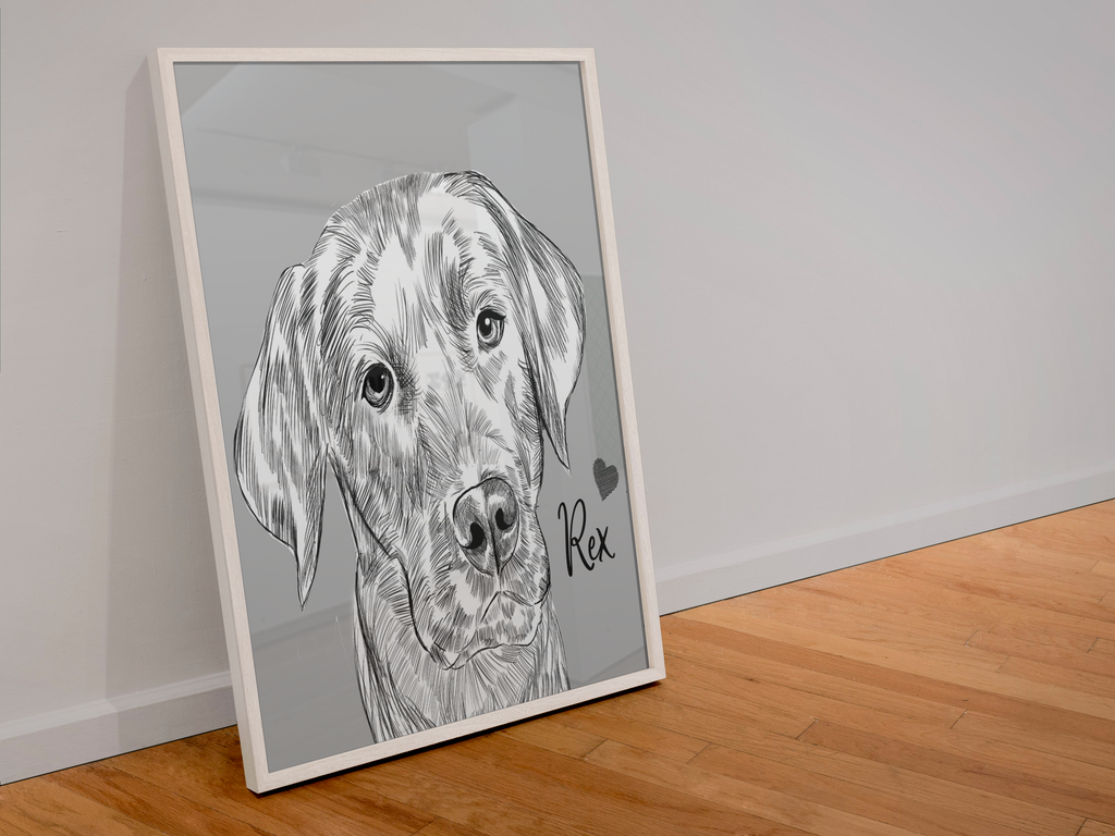 Sketch Dog Custom Framed Portrait - My Pup Art