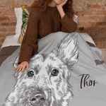 Sketch Dog Portrait Custom Blanket (U.S. Only) - My Pup Art