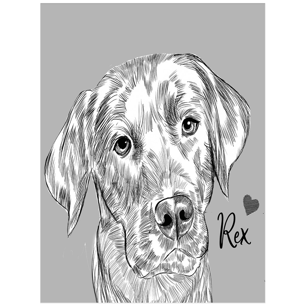 Sketch Dog Portrait Custom Poster (Unframed) - My Pup Art