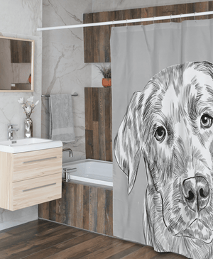 Sketch Dog Portrait Custom Shower Curtain (U.S. Only) - My Pup Art