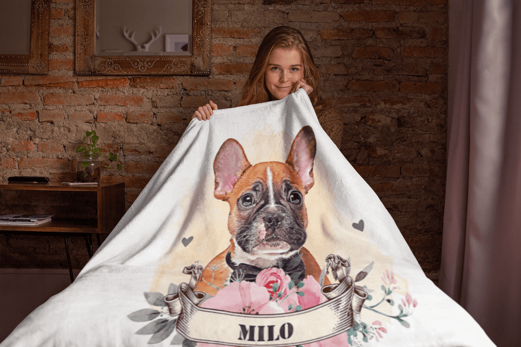 Watercolor Dog Portrait Custom Blanket  (U.S. Only) - My Pup Art