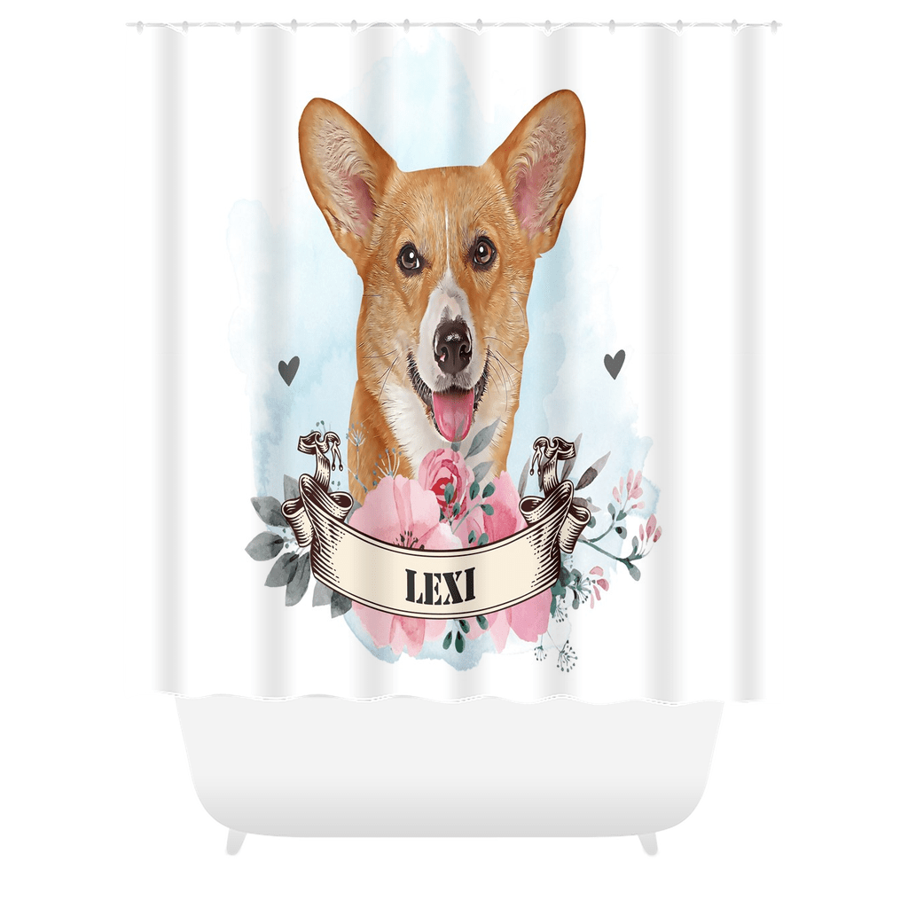 Watercolor Dog Portrait Custom Shower Curtain (U.S. Only) - My Pup Art