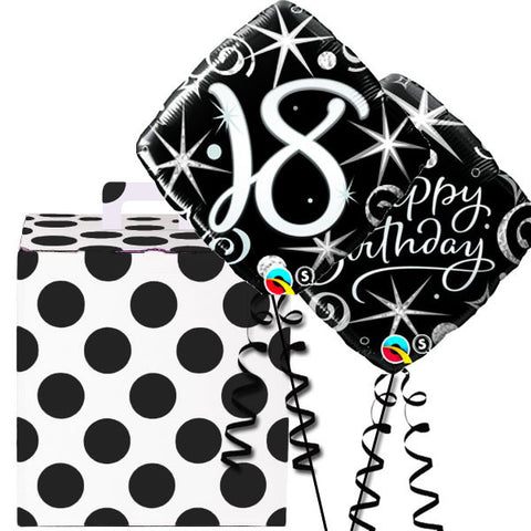 18th Black and Silver Birthday Sparkle Helium Balloon Duo