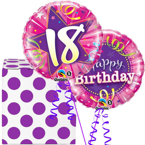 18th Birthday Pink and Purple Helium Balloon in a Box Duo