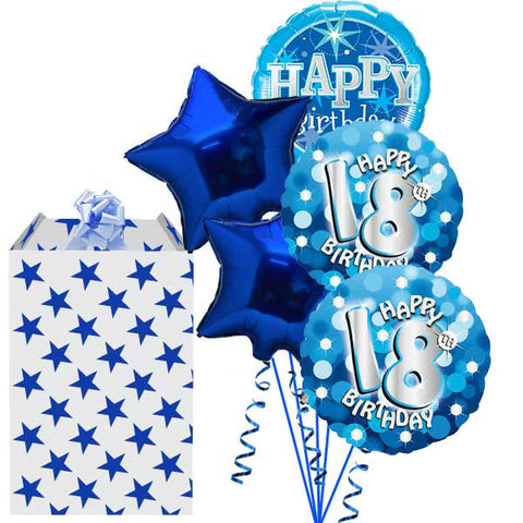 18th Blue Holographic 5 Helium Balloon Bouquet