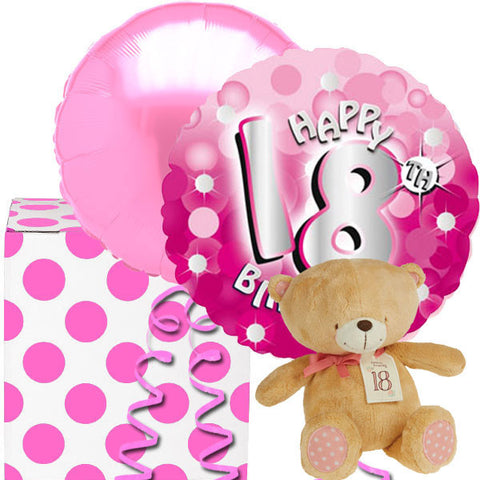 18th Birthday Pink Sparkle Balloons & Forever Friends Bear
