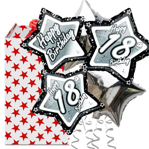 18th Black and Silver Star 5 Balloon Bouquet in a Box