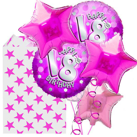 18th Holographic Pink 5 Helium Balloon Bouquet