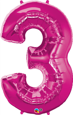 Big Number 3 Foil Balloon Pink