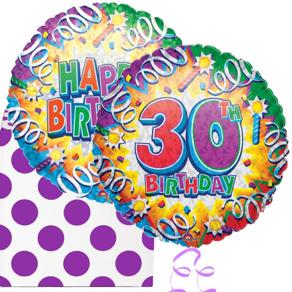 30th Birthday Explosion Helium Foil Balloon Duo Delivered Next Day In A Gift Box