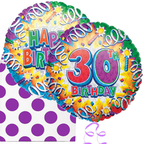 30th Birthday Explosion Helium Foil Balloon Duo