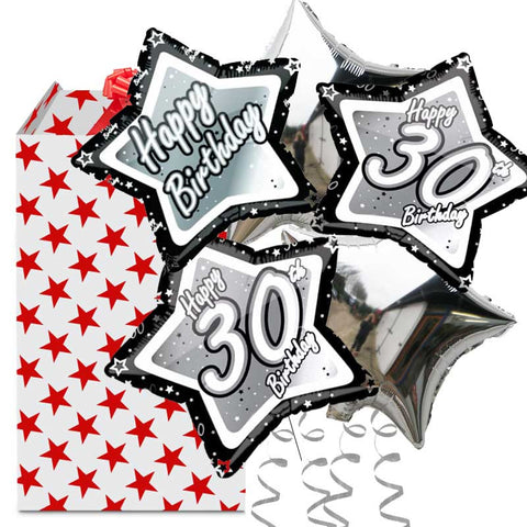 30th Birthday Black and Silver Helium Balloon 5 Bouquet