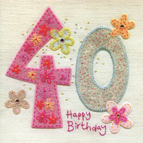 40th Birthday Flowers Greeting Card