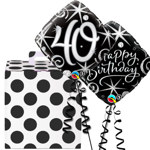 40th Black and Silver Helium Balloon Duo