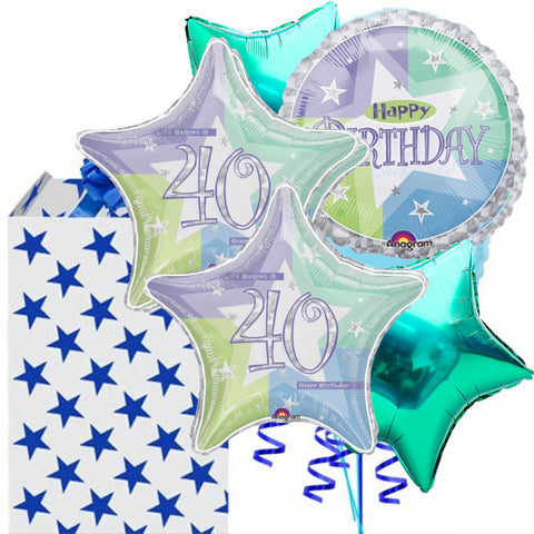 40th Shimmer Birthday Balloon 5 Bouquet